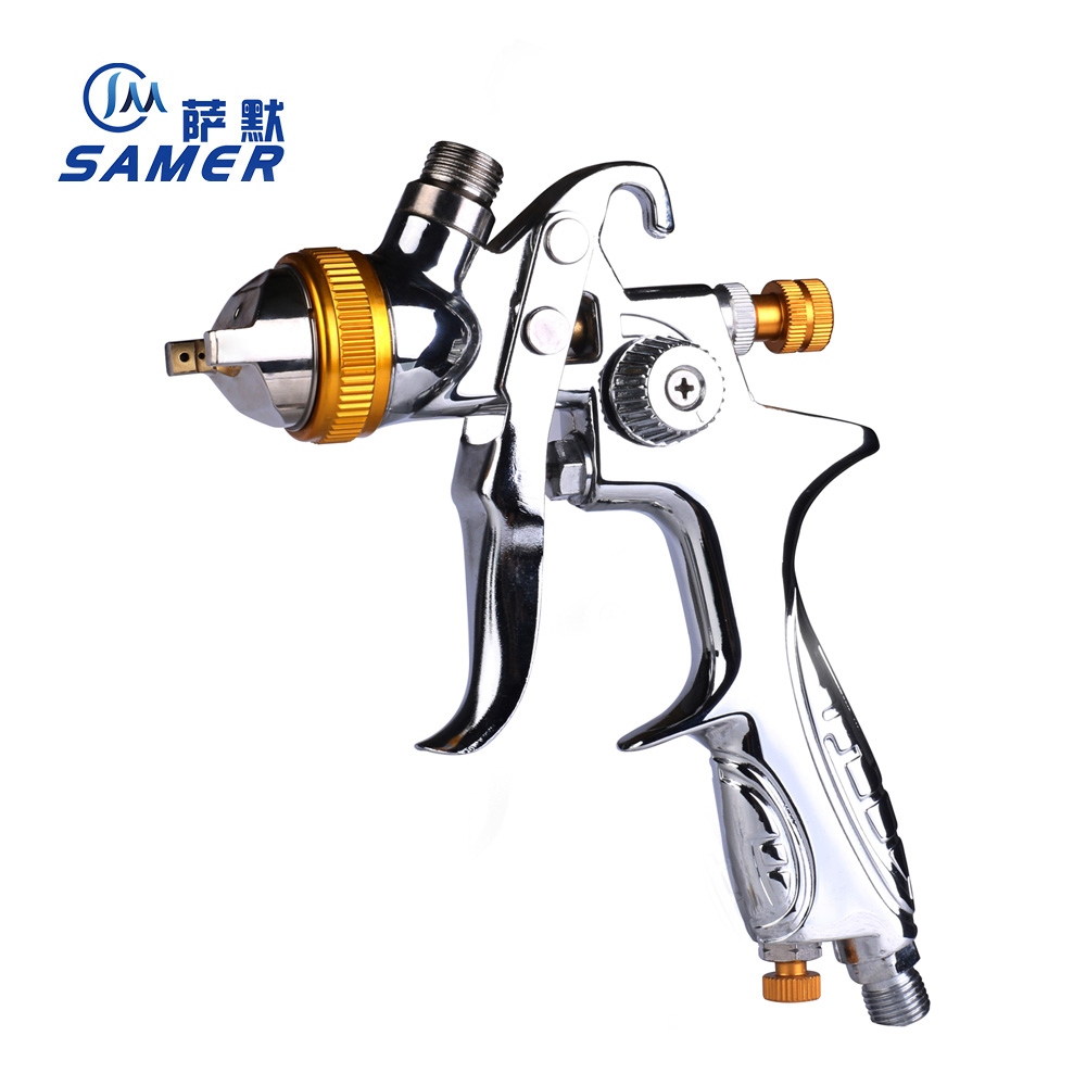SAMER 887G HVLP Paint Spray Gun for all Auto Paint ,Topcoat and Touch-Up with 600ml Plastic Paint Cup High Atomization air gravity feed spray paint gun plastic cup pot fastmover threaded connector t15