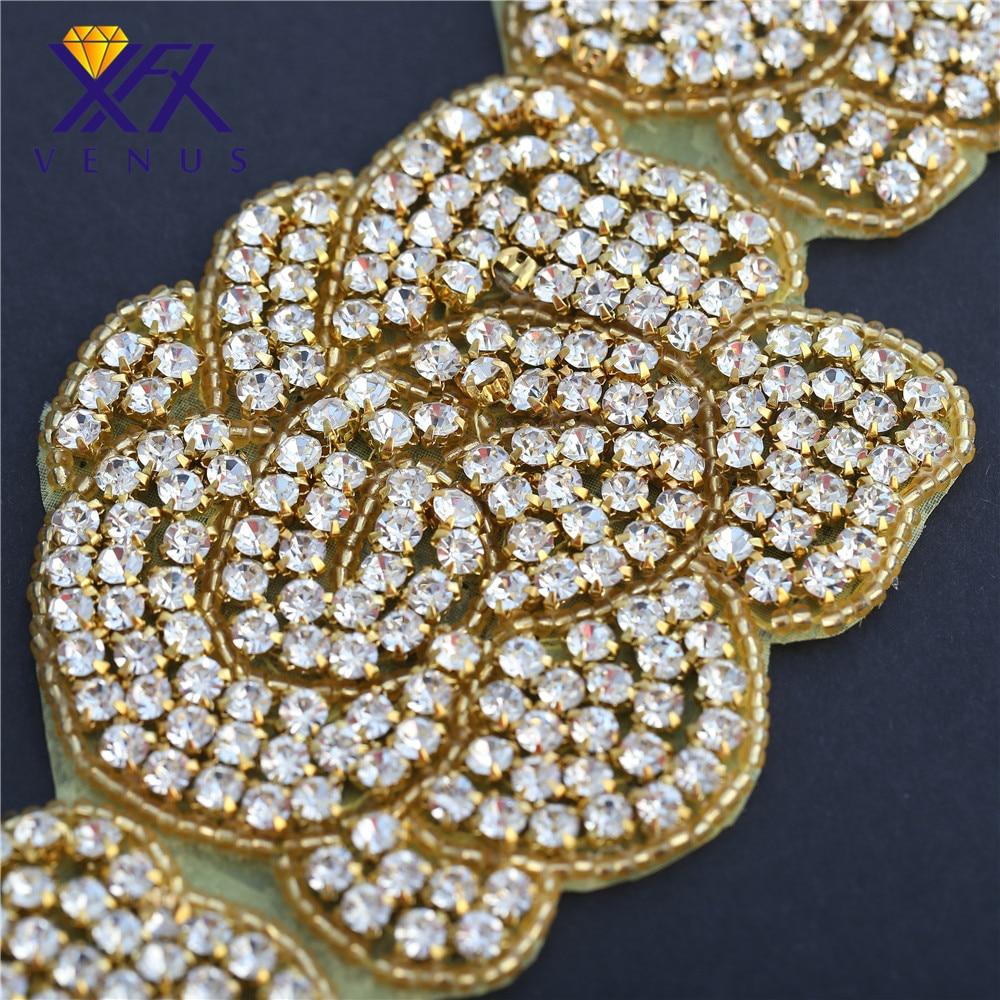 XINFANGXIU 1 Yard Luxurious Gold Rhinestone Belt Flower Crystal Applique  Wedding Dress Evening Dress Sash Waist Belt-in Rhinestones from Home    Garden on ... 52f544f5bb9a