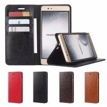 Cover for Huawei P9 Lite Flip Case Luxury Retro Genuine Leather & Silicone Wallet Cover Case for Huawei P9 Lite / P9 Plus Housse