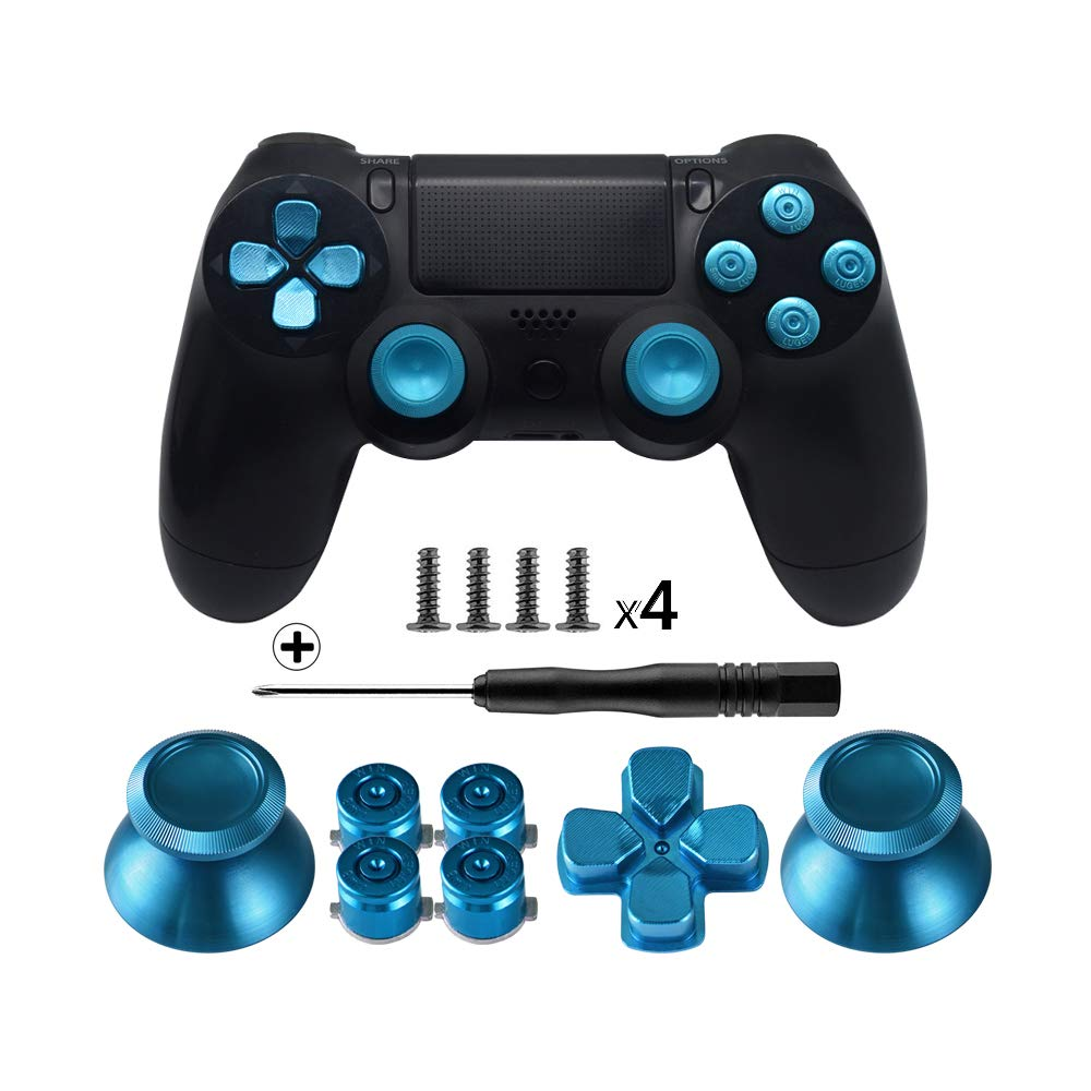 Metal Buttons for DualShock 4, Aluminum Metal Thumbsticks Analog Grip & Bullet Buttons & D-pad for PS4 Controller(China)
