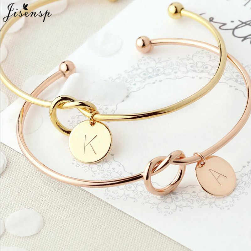 Jisensp Customized A-Z Disc Initial Letter Knot Bangle Bracelet for Women Girl Bridesmaid Jewelry Gift Rose Gold Letter Bangles