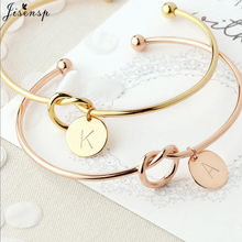 Jisensp Customized A-Z Disc Initial Letter Knot Bangle Bracelet for Women Girl Bridesmaid Jewelry Gift Rose Gold Letter Bangles(China)