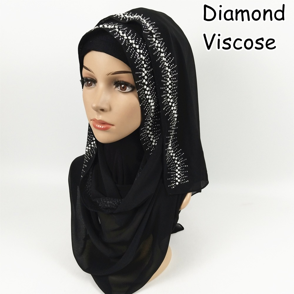 C4 High quality Diamond viscose hijab   scarf   shawl   wrap   muslim headband women   scarves   180*75cm 10pcs/lot