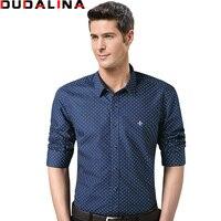 Dudalina 2017 100 Cotton Male Men Shirts Male Long Sleeved Polka Dot Slim Fit Men S