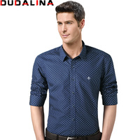 Dudalina 2017 100 Cotton Male Men Shirts Male Long Sleeved Polka Dot Slim Fit Men S