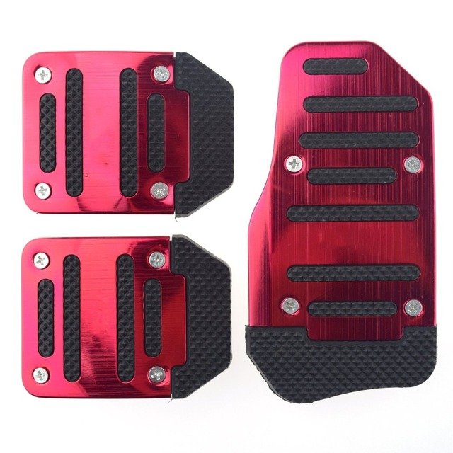 3 PCS Aluminum Momo Anti-slip  Car Manual Transmission Red To Blue And Silver Cover Brake Clutch Pedal Accelerator