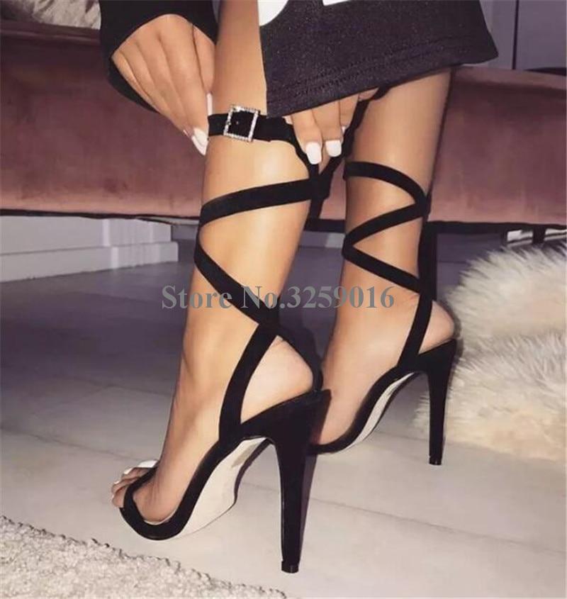Women Cute Fashion Suede Leather Stiletto Heel Gladiator Sandals Strap Cross White Black High Heel Sandals Dress ShoesWomen Cute Fashion Suede Leather Stiletto Heel Gladiator Sandals Strap Cross White Black High Heel Sandals Dress Shoes