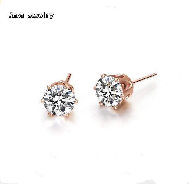 896490bec6 US $6.88 |Sparkling Clearly Stone Stud Earring,Rose Gold Color 6 Prong Claw  Metal With 6mm Clear Stone,Give the Shiny Love To Your Lover-in Stud ...