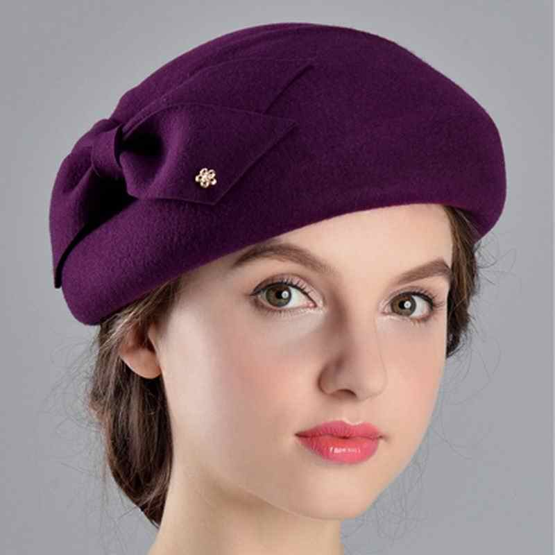 eec0ad7ce1a ... 100% Wool Women Fashion Fedoras Lady Elegant British Style Double  Flower Beret Hats Painter Cap ...