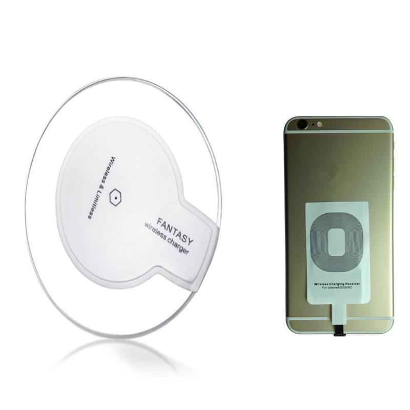 Universal Qi Mobile Wireless Charger with Receiver Pad Coil for iPhone 5 5S 6 6S Quick Charging Energy Adapter Receptor 5V 1A