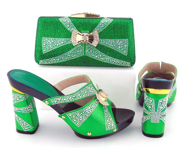 Elegant italian shoes matching clutches bag bright green color for african  big aso ebi green lace fabric party BCSB0035 396b5d81b90d