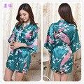 Vestes De Cetim preto Longo Robe De Seda Atacado Moda Robe Feminino Faux Seda de Cetim Kimono Robe Livre