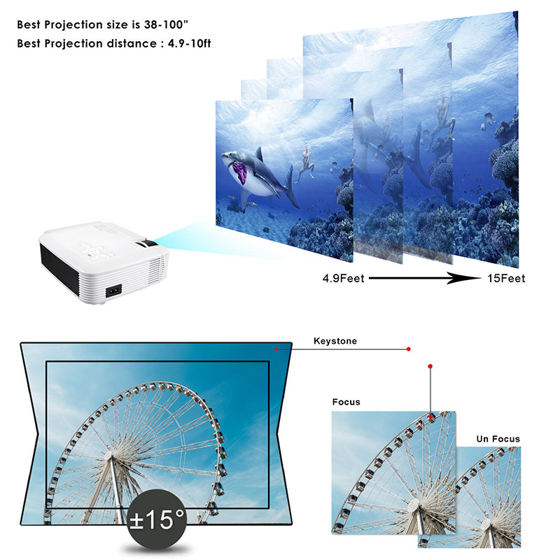 New Projector High Resolution Connect Smart Phone Durable For Home Cinema Theater Office
