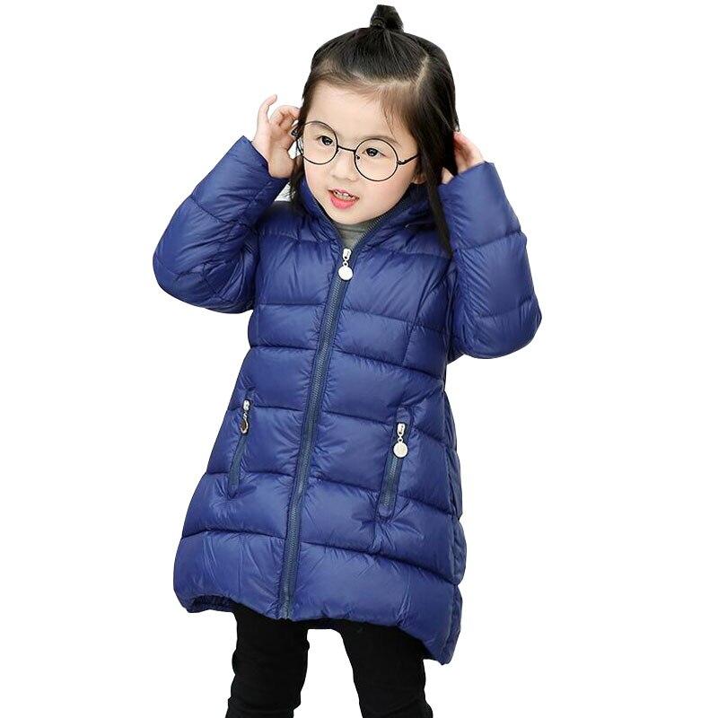 Kinder Winter Unten Jacke Mädchen Warme Oberbekleidung Mäntel 80% Weiße Ente Unten Mädchen 2-5 Jahre Baby Wasserdichte Kinder Ski Langen Mantel