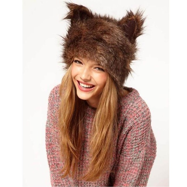 Christmas Gift Winter Cat Ear Hats For Women Christmas Bonnet Faux Fur Pom Pom Hat With Ears Cosplay cappello