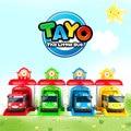Entrega gratuita 4 unids/set Historietas Lindas Coreanas garaje tayo el poco modelo mini tayo bus de plástico de coche de bebé niños para la Navidad regalo