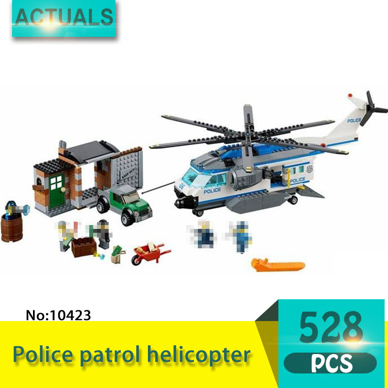 bela 10423 528Pcs City series Police patrol helicopter Model Building Blocks Set  Bricks Toys For Children Gift 60046 compatible lepin city block police dog unit 60045 building bricks bela 10419 policeman toys for children 011