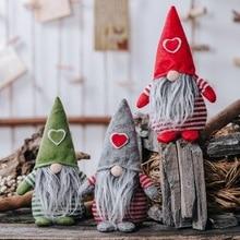 Christmas Santa Doll Non-Woven Hat With Heart Handmade Gnome Plush Dolls Ornament Holiday Table Decor Festive Present Xmas Gift