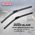 "Lâmina de limpador para Nissan Almera Tino (2000-2005) 1 conjunto de 26 ""+ 18"", Feixe de Aero plana Windscreen Wiper Blades Frameless Suave Blades"