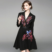 Fashion Brand Designer Runway Dress Women High Quality 2017 Autumn Winter Dresses Long Sleeve Floral Embroidery