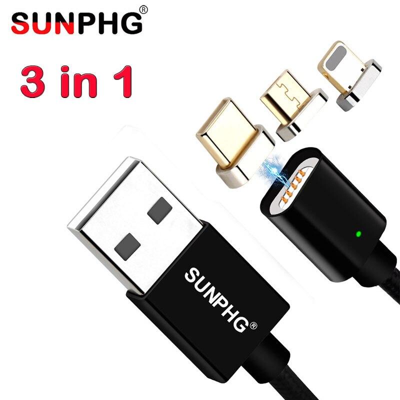 SUNPHG 3 в 1 Магнитная Дата-кабель USB быстрой зарядки кабель передачи плетеный нейлоновый Зарядное устройство линии Тип C для Android для iPhone