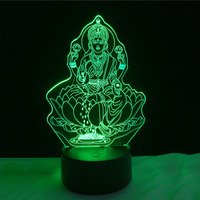 Hot Beautiful 3D Buddha LED Night Light USB Touch Table Lamp As Decoration Christmas Holiday Lights