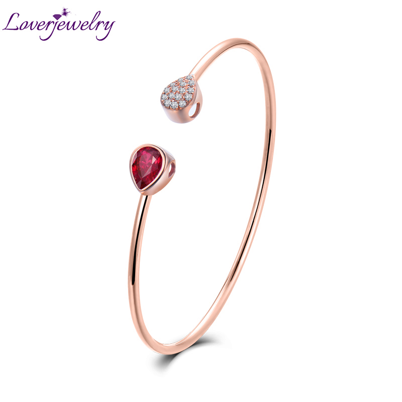 LOVERJEWELRY Bangle Solid 18K Rose Gold Pear Cut Natural Ruby Wedding Diamond Bracelet Promised Jewelry for Women Christmas Gift