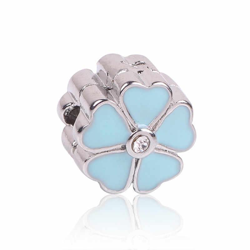 AIFEILI Lovely Blue Beads Fit Original Pandora Bracelet Necklace Big Hole Diy Charms For Women Enamel Heart Shape Pendant Gift