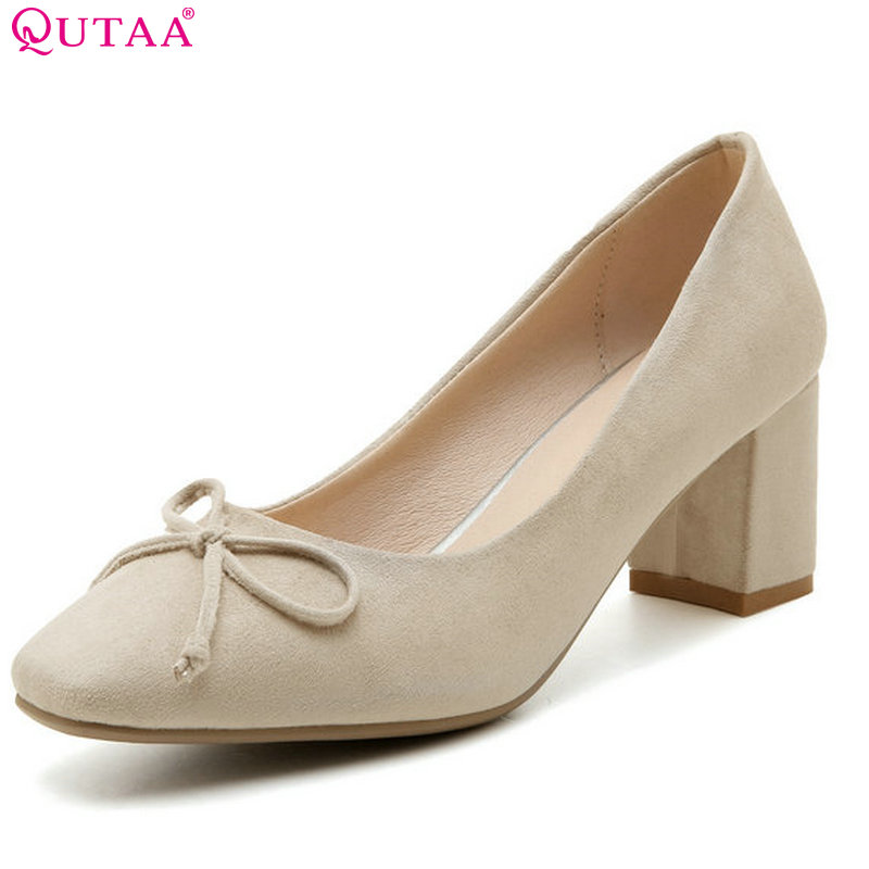QUTAA Women Pumps Square High Heel PU Leather Bow Tie Round Toe Platform Summer Spring Ladies Wedding Shoes Size 34-43 стоимость