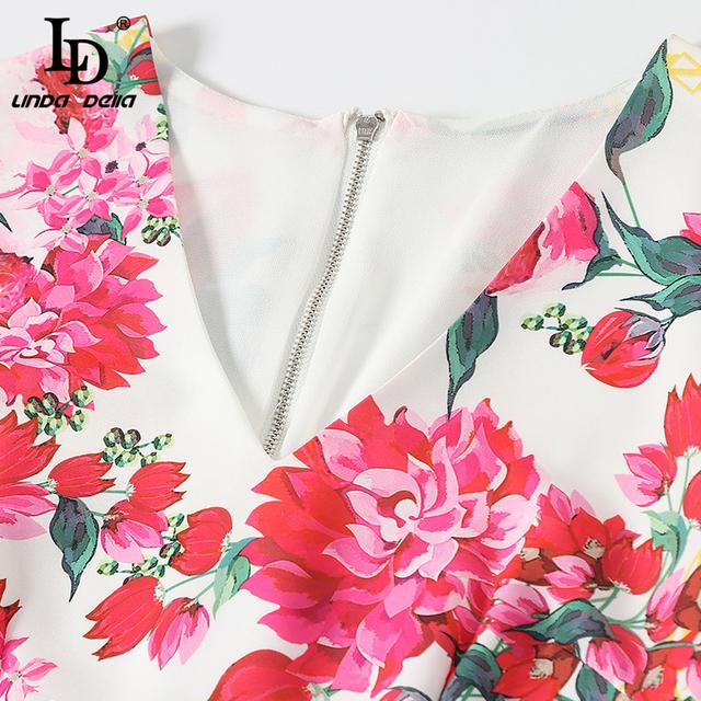 Spring Summer Fashion Vintage Dress Women's V-Neck Floral Printed Back Split Slim Elegant Vacation Midi Dresses