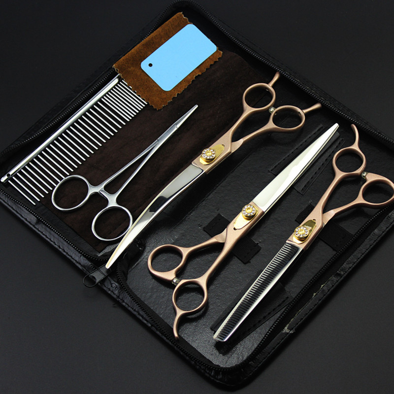 5 kit Professional Japan 440c gold 7 '' pet dog grooming hair scissors cutting barber thinning shears hairdressing scissors set цена 2017
