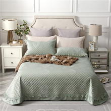 Green Beige Pink Purple High Quality Comfortable Flannel Cotton Thick Bedspread Bed Cover Sheet Pillowcases Summer Blanket