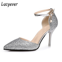 Lucyever Fashion Buckle Crystals Bling Pumps Women Elegant Thin High Heels Point Toe Party Wedding Shoes