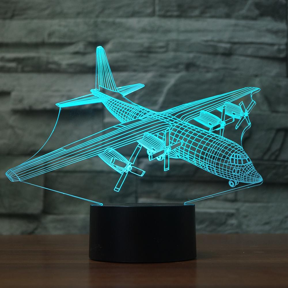 3D Led Visual Creative Colorful Aircraft Table Lamp Decor Gradient Air Plane Light Fixture Usb Baby Room Sleep Night Light Gifts