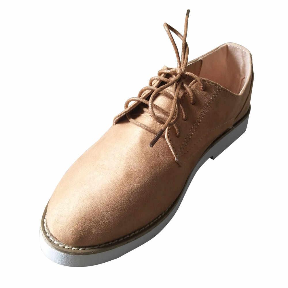 Kadın ayakkabısı Yuvarlak Ayak Düz Renk Ayak Bileği Düz Süet Casual Lace Up rahat ayakkabılar Zapatos de Mujer #400