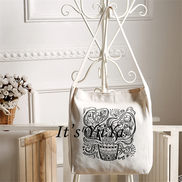Free Shipping Casual Canvas Shopping Bags White with flowers Pattern Women Handbags Shoulder Bags Shopping Bag HL157