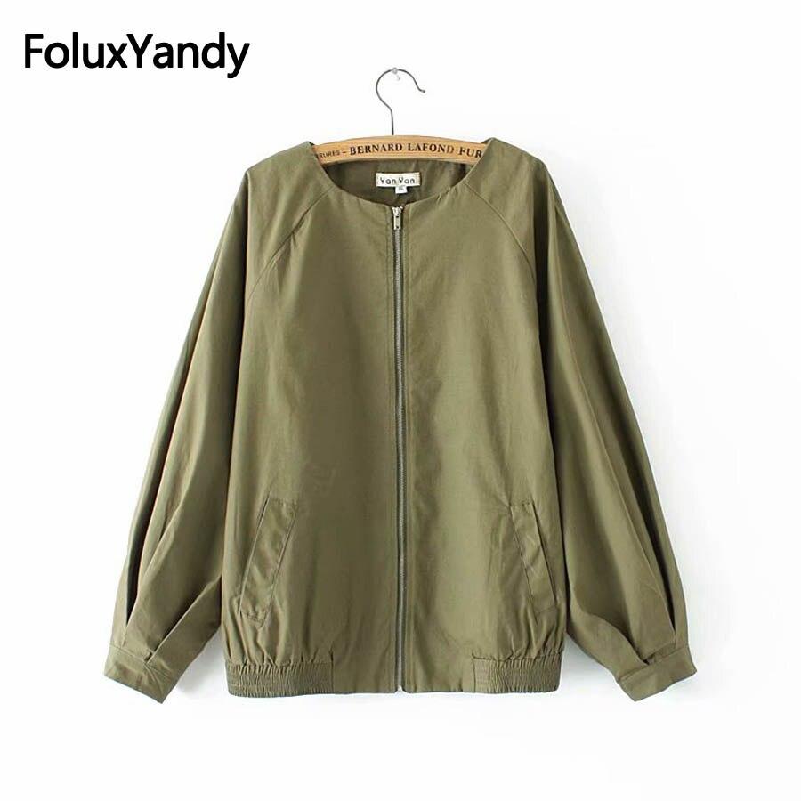 Women Casual   Basic     Jacket   Autumn Spring Outerwear Plus Size Coats 3XL 4XL Zipper Long Sleeve   Jackets   KKFY2572