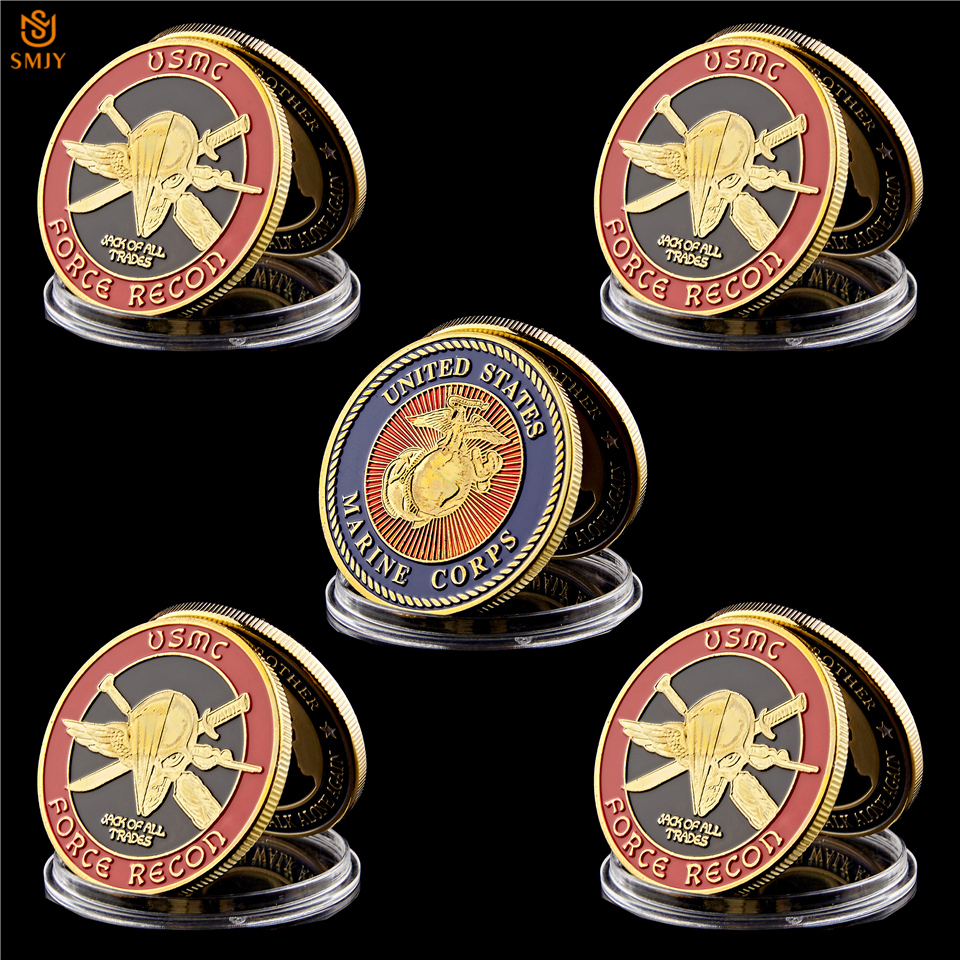 Force Recon US Marine Corps Challenge Coin USMC Gold Plated Coin Collection