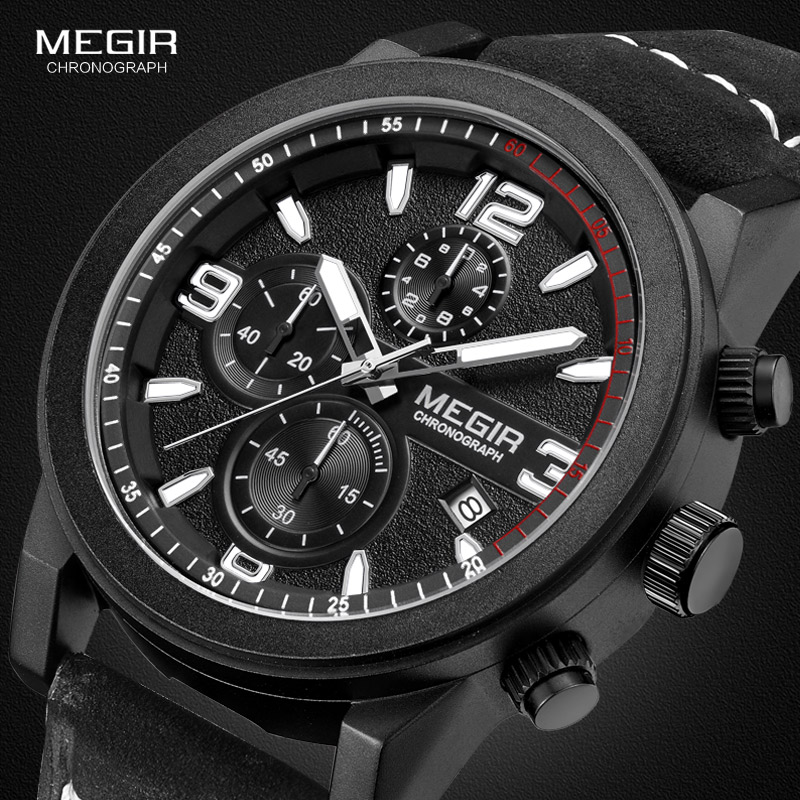Megir Mens Chronograph Luminous Hands Waterproof Wristwatches Fashion Large Dial Calendar Leather Band Quartz Watch For Man