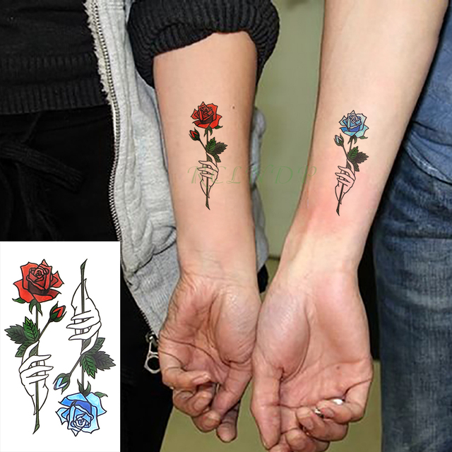13a3dd519 Waterproof Temporary Tattoo Stickers Red Blue Rose Fake Tatto Flash Tatoo  Tatouage Body Art Hand Back Foot for Girl Women Men