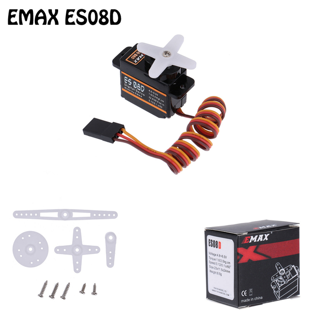 1Pcs 100% orginal EMAX ES08D Plastic Digital Micro Servo for RC Helicopter Airplane RC Quadcopter