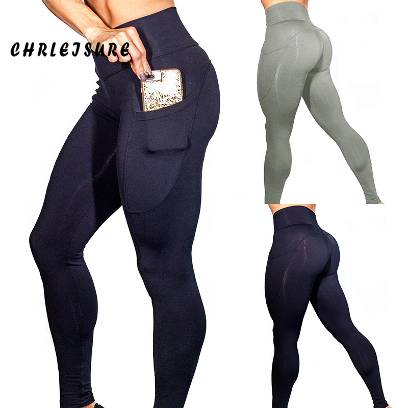 CHRLEISURE Fitness Pockets Leggings Women Polyester Solid High Waist Pants Side Elasticity Work Out Lady's Legging Push Up