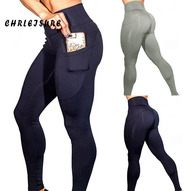 9766067335a1a CHRLEISURE Fitness Pockets Leggings Women Polyester Solid High Waist Pants  Side Elasticity Work Out Lady's Legging Push Up
