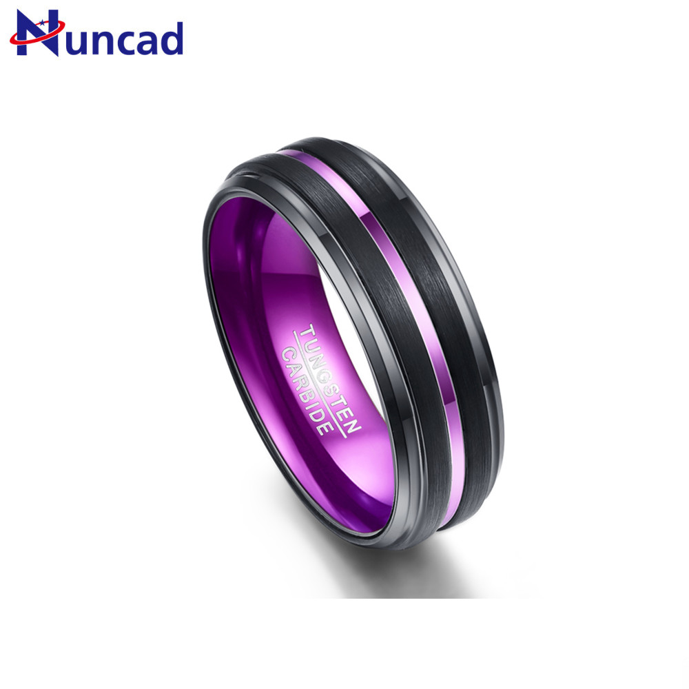Nuncad 7-12 8MM galvanized black matte finish purple grooved step small bevel tungsten carbide mens ring wedding jewelry maleNuncad 7-12 8MM galvanized black matte finish purple grooved step small bevel tungsten carbide mens ring wedding jewelry male