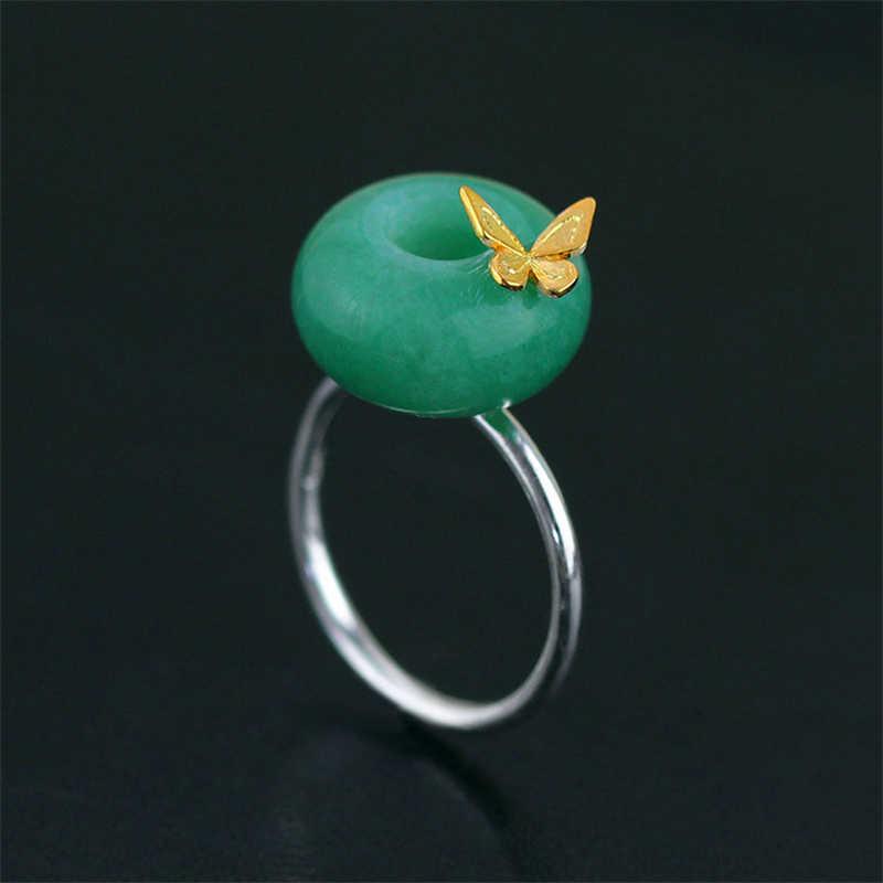 Lotus สนุกจริง 925 เงินสเตอร์ลิงหินธรรมชาติสร้างสรรค์ Handmade Designer เครื่องประดับผีเสื้อเปิดแหวน Bijoux