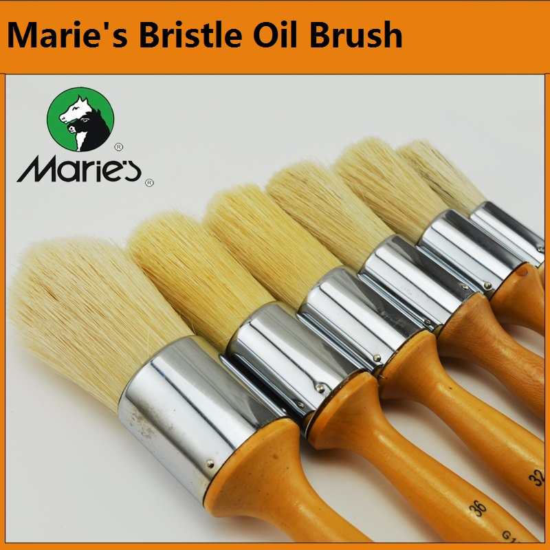 Marie's Bristle Brush G-1730  Round  Oil Painting /Acrylic/ Gouache Painting Pen Size 16 24  28  32 36  40 For Choose