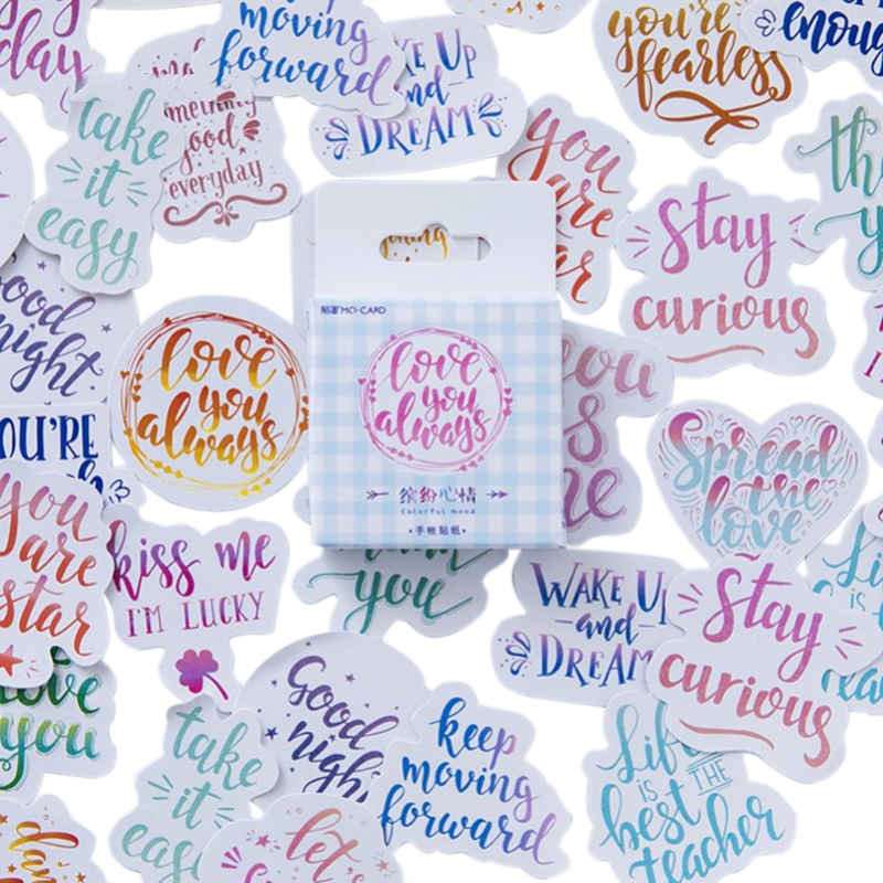 46pcs/pack colorful fun mood English words decorative adhesive paper sticker best wishes message for friends46pcs/pack colorful fun mood English words decorative adhesive paper sticker best wishes message for friends