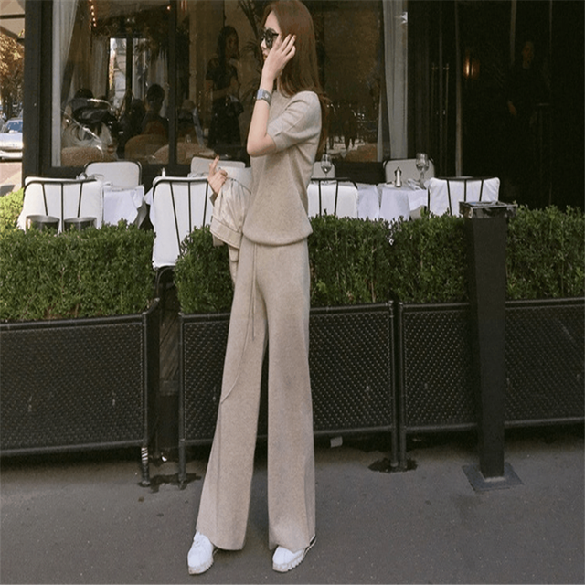 2019 new comfortable soft cashmere trousers women's solid color wide pants wool casual sweater loose pants ladies suit