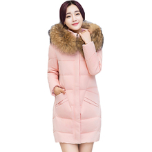Winter Warm Jacket Coat Trendy Women Parka Faux Fur Hooded Collar Mid Long Parkas Cotton Wadded Ladies Plus Size Overcoat XH414