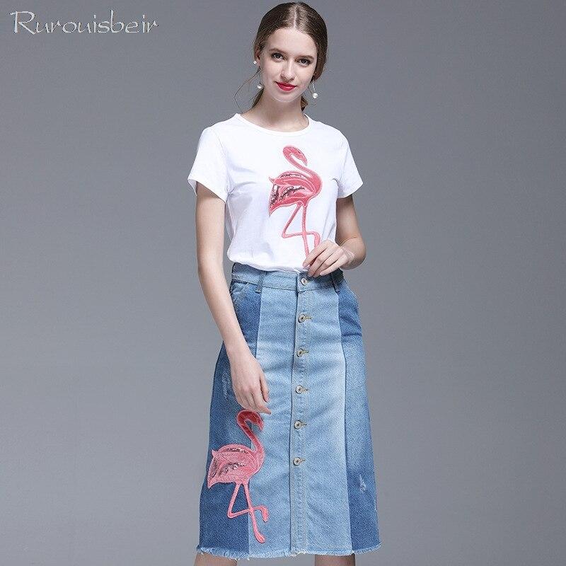 2019 deux pièces été femmes jupe ensemble flamant imprimé blanc t-shirts et simple-boutonnage taille haute brodé Denim jupes